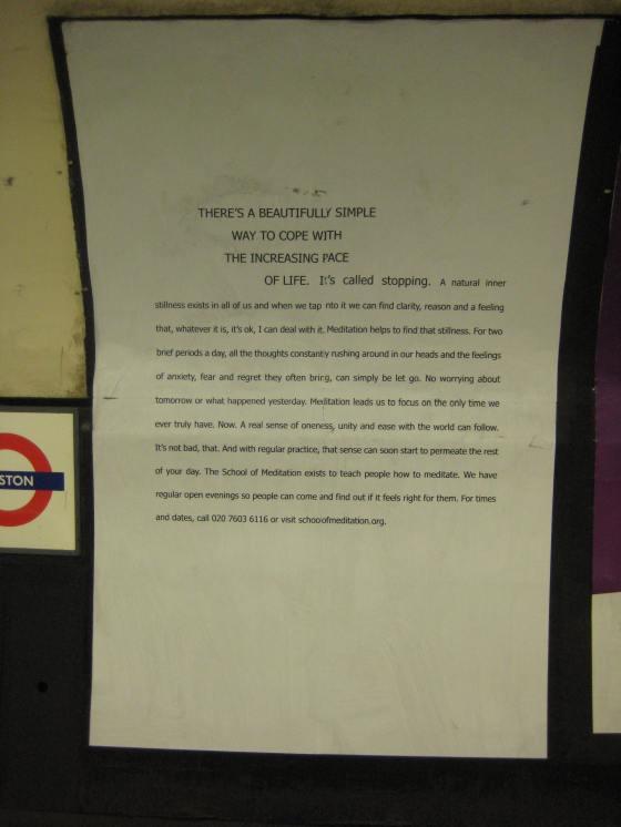 London School of Meditation on Tube